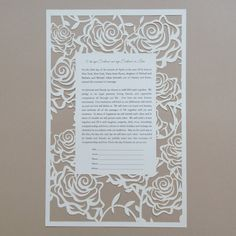 The customizable Laser Cut Ketubah design perfectly frames your wedding day vows.  Price includes printing your submitted Hebrew typeset and