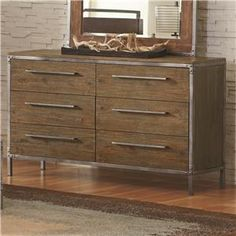 Arcadia 20380 Industrial 6 Drawer Dresser with Pewter-Coated Metal Accents - 57x34.5x17.5 - English dovetail joints in both the front and the back; 20-deep drawers provide ample storage space Drawer Suspension	Full extension glides - furniture fair and hampstead furniture