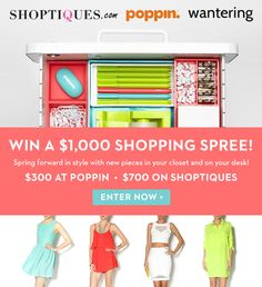 WIN a $1,000 giveaway from @shoptiques @poppin and @wantering! Enter Now: http://bit.ly/XpI584 #sweeps