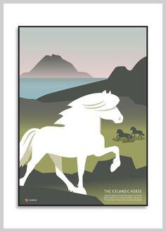 Plakat med den islandske hest fra Ping Pong Posters – køb her!