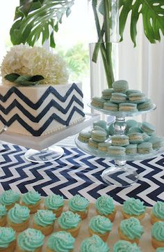 Navy Chevron Cake, Teal Macaroons & Mini Cupcakes by Luxe Report Designs