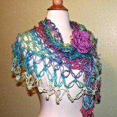 Shawl Triangle Crochet Bright Hippie by wildirishrosecrochet, $55.00