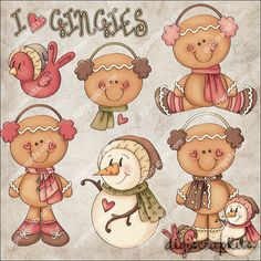 Gingy Friends Clip Art Instant Digital Download от EarlyThymes