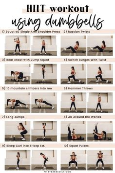 Hiit Workouts With Weights, Full Body Hiit Workout, Hitt Workout, Hiit Workout At Home, At Home Workouts, Workout With Dumbbells, Cardio, Upper Body Hiit Workouts, Hiit Workouts For Men