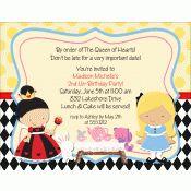 Alice in Wonderland Birthday Party Invitation | Kids Birthday Invitations | Childrens Invitations | Girls Party Invitations | Alice Queen of Hearts cheshire cat tea party | KBI244
