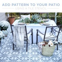 Stencil Patterns Add Pop To A Boring Cement Patio Good morning, my Cutting Edge Stencils friends! Did you know that you could easily bring visual interest to your cement patio by painting a stencil pattern on it? If your cement patio has been looking a bit lackluster then paint and our stencil des