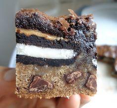 Sluttier Brownies (aka chocolate chip cookie, oreo, peanut butter, and brownie!)