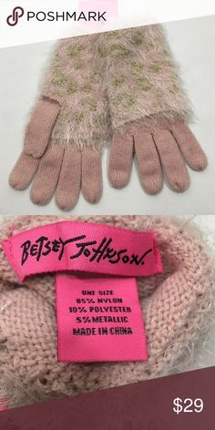 Betsey Johnson gloves pink/gold leopard HP Betsey Johnson pink and gold leopard gloves! Betsey Johnson Accessories Gloves & Mittens