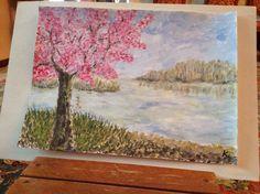 Paesaggio fioritura di primavera dipinto da me Painting, Art, Spring, Painting Art, Paintings, Kunst, Paint, Draw, Art Education