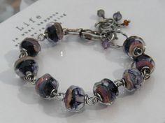 Boysenberry Glass Bracelet // Oxidized Sterling by CloverBlueToo, $98.00