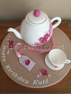 A pretty pink floral teapot and teacup birthday cake. Beautiful Birthday Cakes, Birthday Cakes For Women, Tea Party Birthday, Birthday Cookies, Birthday Ideas, Big Cakes, Cute Cakes, Dolphin Cakes, Teapot Cake
