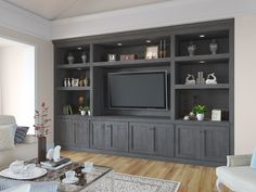 Ready to Assemble TV Room Cabinetry Built In Tv Wall Unit, Built In Tv Cabinet, Built In Shelves Living Room, Tv Built In, Living Room Wall Units, Built In Bookcase, Built In Cabinets, Home Living Room, Living Room Designs