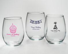 Personalized Stemless Wine Glass (Birthday Designs)