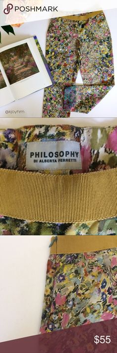 """Philosophy di Alberta Ferretti pants These gorgeous pants are so unique - you'll feel like you're wearing a Monet painting. Concealed side zip closure, grosgrain ribbon trim at waistband. Cropped, narrow ankle opening. Size/fabric content tag has been removed, but based on the measurements they seem like a size zero:  13"""" waist, 16.5"""" hips, 7.75"""" rise, 25"""" inseam, 6"""" ankle opening. They feel like lightweight cotton/silk blend. Great with a simple button-down shirt in cotton or linen, and…"""