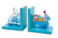 """Buchstützen """"Tiere"""". Farbenfrohe Buchstützen mit lustigen Tiermotiven für das Kinderregal. Aus Holz."""