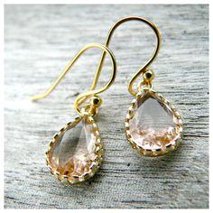 Champagne Gold Teardrop Earrings by KattilacGems on Etsy