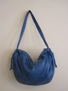 Vtg 80s Brio Royal Blue Leather Hobo Bag