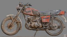 Russian motorcycle , Romain Rouffet on ArtStation at https://www.artstation.com/artwork/QJGgr