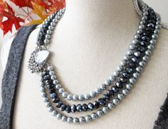 Pearl Statement Necklace Brooch Statement by GrevinaDesigns, $35.00