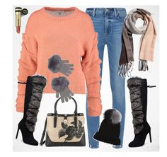 Peach, fur and happiness by amisha73 on Polyvore featuring moda, Paige Denim, Karl Lagerfeld, Eugenia Kim, JustFab, Gucci and SELECTED