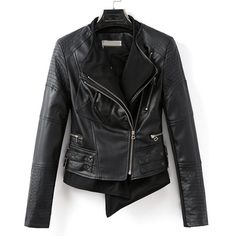 59,90EUR Lederjacke Kunstleder schwarz asymmetrisch geschnitten