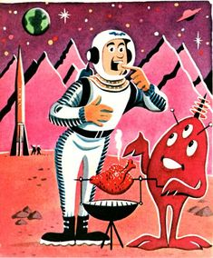 Barbeque on Mars - vintage space illustration