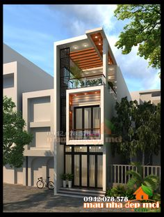 Narrow Lot House Plans, Narrow House, House Front Design, Micro House, House Elevation, Modern Architecture House, Gate Design, Dream Home Design, Home Fashion