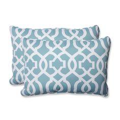 New Geo Aqua Over-sized Rectangular Throw Pillow (Set of 2)