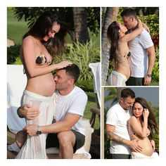 Pregnant Megan Fox Poses in a Bikini and Shows PDA With BAG ❤ liked on Polyvore featuring couple, maternity, megan, megan fox and pregnancy
