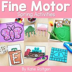 These 10 spring fine motor skills activities are perfect for preschoolers, kindergarten, or homeschool students. The activities can be performed multiple ways, as the activities will always help develop the budding fine motor skills of prek or kinder students. Some of the activities are printables, while others require little prep work like laminating. Perfect for small groups, morning tubs, centers, or any time you want your students to practice their fine motor skills. #finemotorskills