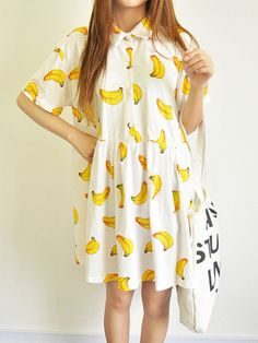 Fun Banana Print Summer Dress