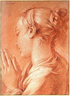 François Boucher (1703-1770), Etude d'une jeune fille, de profil trois quart dos, les mains jointes. Sanguine et estompe, craie blanche, traces de pierre noire. Inscrit F. Boucher en haut à droite. Inscrit au verso 6820. dub , 312 x 229 mm.