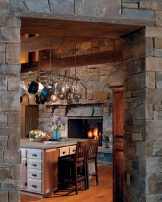 #kitchen #with #fireplace #rustic