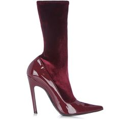 Balenciaga Boudoir velvet and leather ankle boots (5,475 CNY) ❤ liked on Polyvore featuring shoes, boots, ankle booties, heels, burgundy, burgundy booties, pointed toe booties, leather boots, short boots and heeled booties