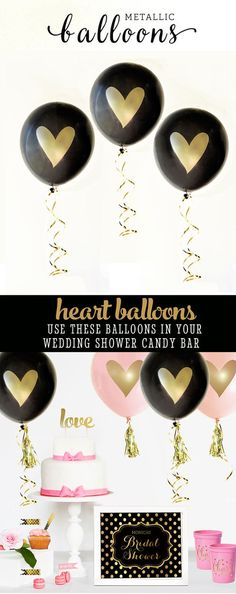 Black and Gold Wedding Shower Decorations Black and Gold Party Decor Wedding Shower Ideas Elegant Bridal Shower (EB3110HRT) SET of 3 balloon