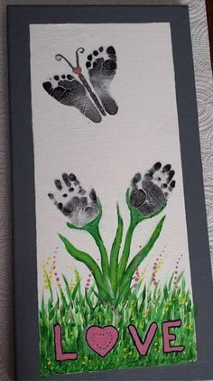 of The BEST Hand and Footprint Art Ideas! Kids crafts with homemade cards, canvas, art, paintings, keepsakes using hand and foot prints! Kids Crafts, Baby Crafts, Toddler Crafts, Crafts To Do, Preschool Crafts, Easter Crafts, Arts And Crafts, Mothers Day Crafts For Kids, Stick Crafts