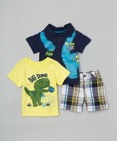 Another great find on #zulily! Navy 'Big Dino' Polo Set - Infant #zulilyfinds