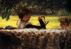 James Jacques Joseph Tissot (1836-1902) Reading a Story Oil on canvas c1878-c1879    From the ArtRenewal web site