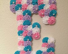 """CUSTOM WOOD LETTERS - Baby Name or Initial Letters - Large 9"""" Wooden Letter covered with fabric yo-yos can hang on door or wall"""