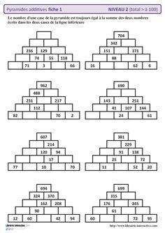 #autocorrectives #pyramides #additives #suprieur #rsultat #fiches #niveau #avec #des #de10 fiches autocorrectives avec des pyramides additives de niveau 2 (résultat supérieur à 100) Gcse Maths, Mental Maths Worksheets, Maths Puzzles, Math Activities, Math Tutor, Teaching Math, Math For Kids, Fun Math, Abacus Math