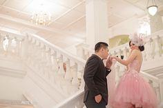 Little Collins Photo for Kenny + Caroline in Singapore . Concept Prewedding / Engagement . Gown & qipao by Melta Tan , Dorcas , Cynthia Tan , Mandarin Peony , My Mischa