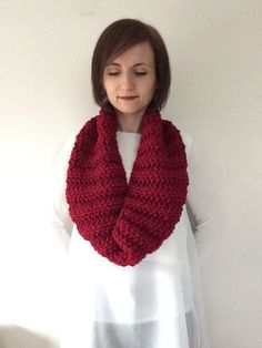 Knitted snood Cowl Infinity scarf Oversized cowl Deep red snood Deep red scarf by TheScarfRoom on Etsy