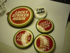 lucky strikes tobacco pinback and drink costars   #luckystrikes