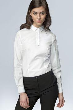 e41692c251fa1 White Work Shirt for Women with Decorative Button Down Seam