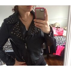 Studded Leather Jacket Great Condition - Black / Silver Looking Studs On Collar Forever 21 Jackets & Coats
