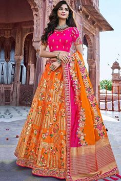 Bright Pink banglori silk semi stitch lehenga with banglori silk choli. This lehenga choli is embellished with resham, stone, sequins and dori work. Product are available in 32 to 58 sizes. It is perfect for Bridal Wear, Bridesmaid Wear, Wedding Wear. Lehenga Suit, Pink Lehenga, Lehenga Style, Bridal Lehenga Choli, Orange Lehenga, Sharara Suit, Ghagra Choli, Rohit Bal, Choli Designs