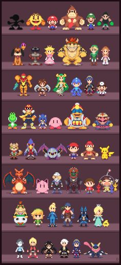 Resultado de imagen para smash bros characters pixels