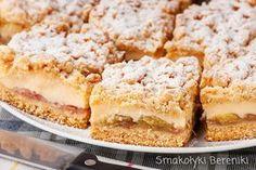 Kruche z budyniem i rabarbarem Polish Desserts, Polish Recipes, Pie Recipes, Dessert Recipes, Cooking Recipes, Polish Food, Rhubarb Cake, Protein Bars, Asian Recipes