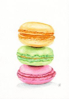 #Macarons  ORIGINAL watercolour painting Food by ForestSpiritArt