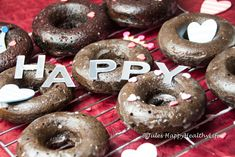 """Happy"" is written on my donuts, on a Monday night these chocolate donuts managed to make me really happy. It is the little things that make the difference."